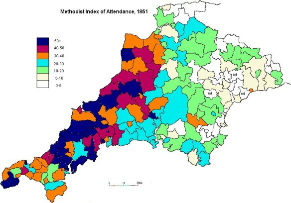 Methodist attendance in 1851. Note the areas of strength in mid and north Cornwall.