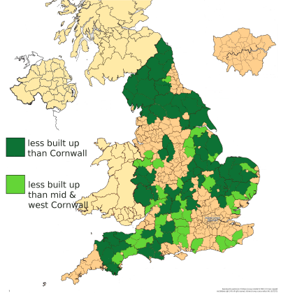 Mid and west Cornwall is already more built over than most of England