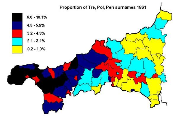 Proportion of Tre, Pol, Pen surnames 1861