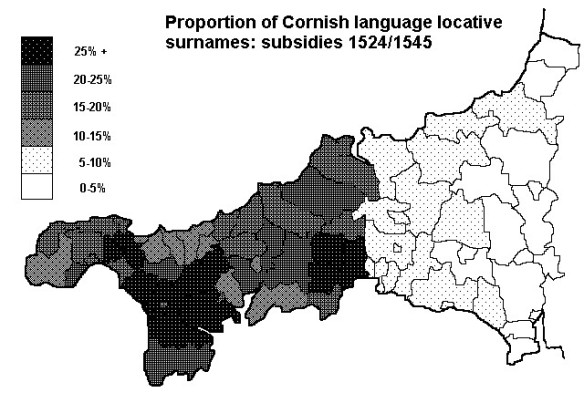 cornish language locative names C16