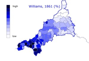 Distribution of the most common Cornish name in the 19th century